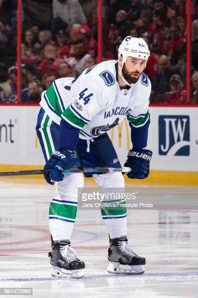 Erik Gudbranson of the Vancouver Canucks prepares for a faceoff against the Ottawa Senators at Canadian Tire Centre on October 17 2017 in Ottawa...