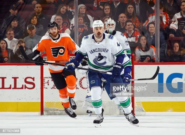 Erik Gudbranson of the Vancouver Canucks skates against the Philadelphia Flyers at the Wells Fargo Center on November 21 2017 in Philadelphia...