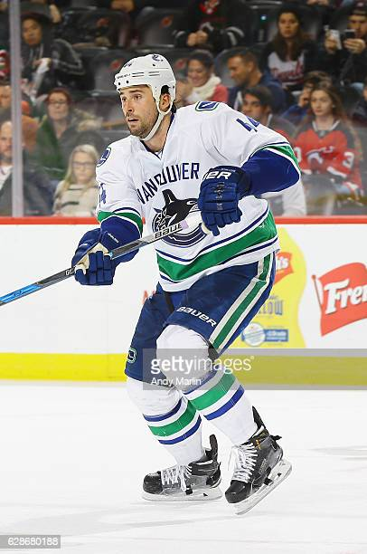 Erik Gudbranson of the Vancouver Canucks skates against the New Jersey Devils during the game at Prudential Center on December 6 2016 in Newark New...