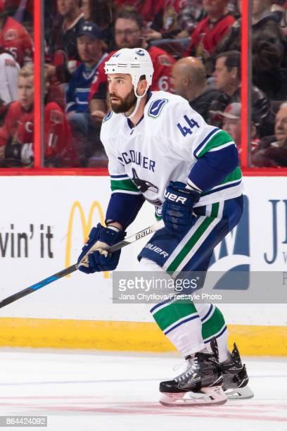Erik Gudbranson of the Vancouver Canucks skates against the Ottawa Senators at Canadian Tire Centre on October 17 2017 in Ottawa Ontario Canada