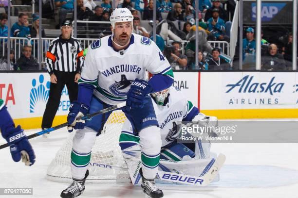 Erik Gudbranson of the Vancouver Canucks skates against the San Jose Sharks at SAP Center on November 11 2017 in San Jose California