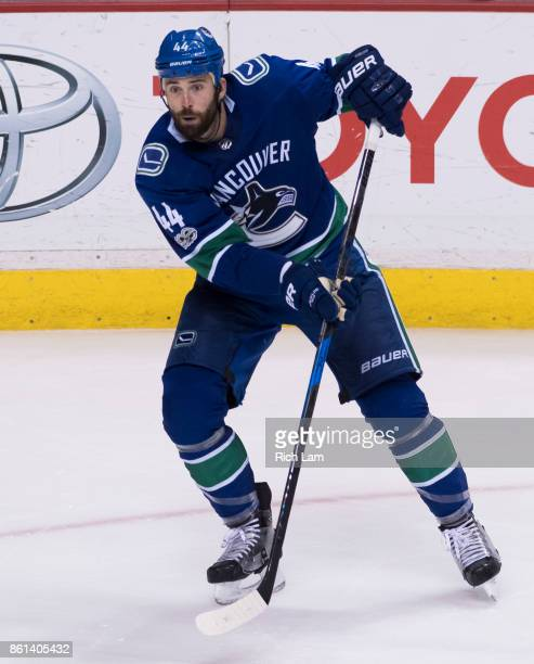 Erik Gudbranson of the Vancouver Canucks skates in NHL action against the Edmonton Oilers on October 7 2017 at Rogers Arena in Vancouver British...