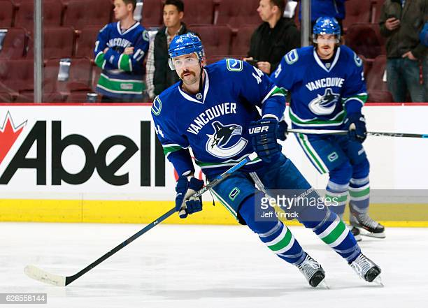 Erik Gudbranson of the Vancouver Canucks skates up ice during their NHL game against the New York Rangers at Rogers Arena November 15 2016 in...