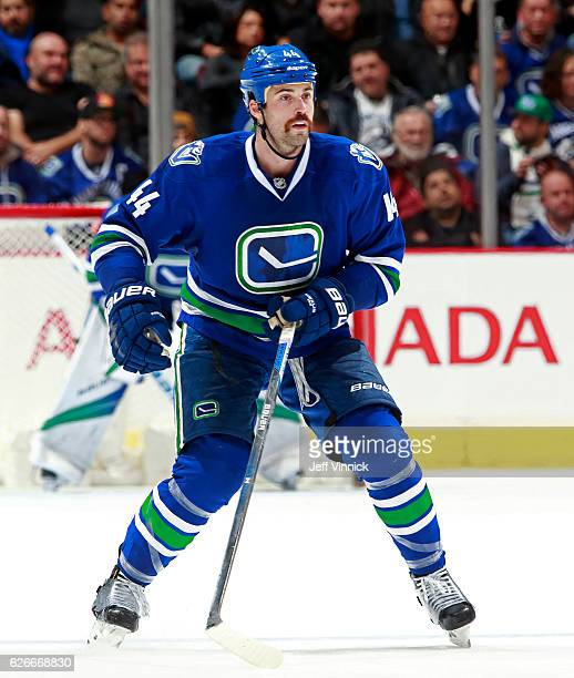 Erik Gudbranson of the Vancouver Canucks skates up ice during their NHL game against the Chicago Blackhawks at Rogers Arena November 19 2016 in...