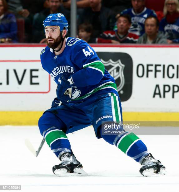 Erik Gudbranson of the Vancouver Canucks skates up ice during their NHL game against the Dallas Stars at Rogers Arena October 30 2017 in Vancouver...