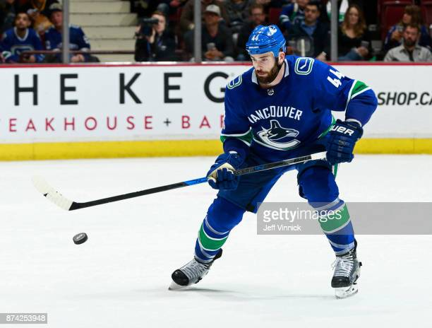Erik Gudbranson of the Vancouver Canucks skates up ice during their NHL game against the Washington Capitals at Rogers Arena October 26 2017 in...