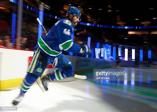 Erik Gudbranson of the Vancouver Canucks steps onto the ice during their NHL game against the New York Rangers at Rogers Arena November 15 2016 in...