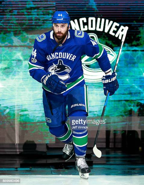 Erik Gudbranson of the Vancouver Canucks steps onto the ice during their NHL game against the Edmonton Oilers at Rogers Arena October 7 2017 in...