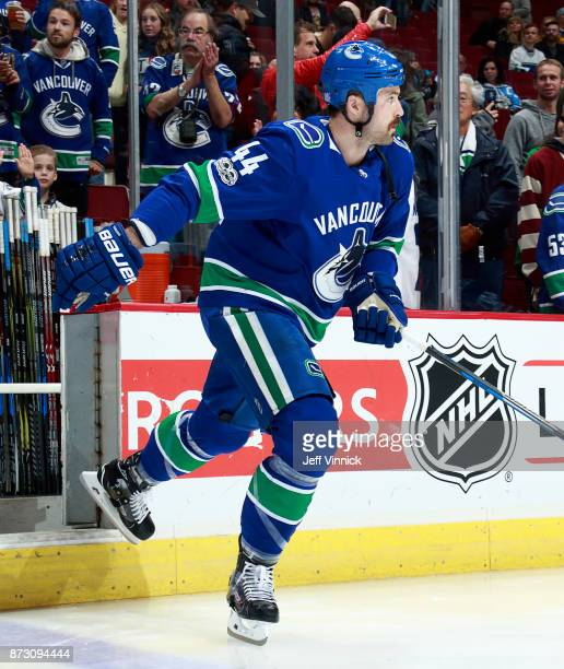 Erik Gudbranson of the Vancouver Canucks steps onto the ice during their NHL game against the Pittsburgh Penguins at Rogers Arena November 4 2017 in...