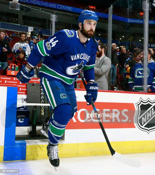 Erik Gudbranson of the Vancouver Canucks steps onto the ice during their NHL game against the Dallas Stars at Rogers Arena October 30 2017 in...