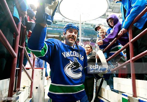 Erik Gudbranson of the Vancouver Canucks walks past fans during their NHL game against the Minnesota Wild at Rogers Arena November 29 2016 in...