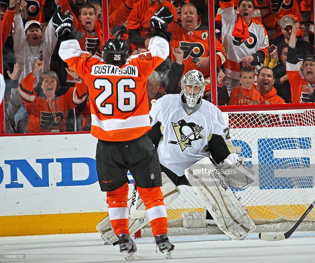 Erik Gustaffson #26 of the Philadelphia Flyers celebrates his first goal of the playoffs against Marc-Andre Fleury #29 of the Pittsburgh Penguins in Game Six of the Eastern Conference Quarterfinals during the 2012 NHL Stanley Cup Playoffs on April 22, 2012 at the Wells Fargo Center in Philadelphia, Pennsylvania.