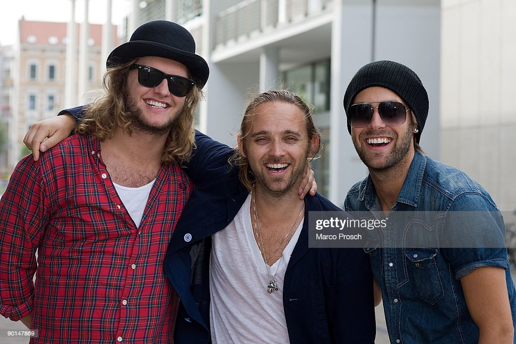 Erik Haager, Chad Wolf and Rickard Goransson of Carolina Liar pose on August 28, 2009 in Halle, Saxony-Anhalt.