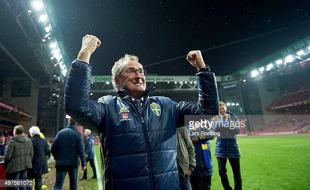 Erik Hamren head coach of Sweden celebrates after the UEFA EURO 2016 Qualifier PlayOff Second Leg match between Denmark and Sweden at Telia Parken...