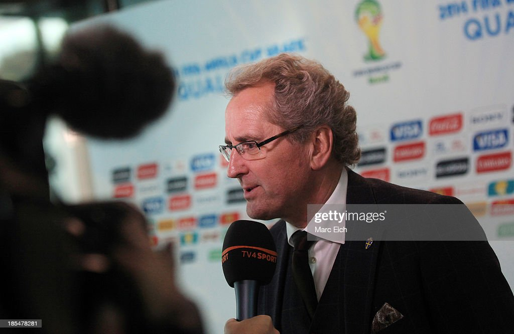 Erik Hamren Manager of Sweden, talks to TV-Stations after the FIFA World Cup 2014 European Zone Play-Off Match Draw at the FIFA headquarter on October 21, 2013 in Zurich, Switzerland.
