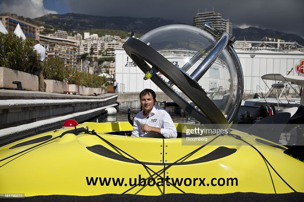 Erik Hasselman, commercial director of U-Boat Worx, sits inside a C-Quester 3 submarine during the Monaco Yacht Show (MYS) in the harbor in Monaco, France, on Wednesday, Sept. 25, 2013. Over 100 of the world's luxury yachts will be displayed in Port Hercules during the 23rd MYS which runs from Sept. 25 - 28. Photographer: Balint Porneczi/Bloomberg via Getty Images