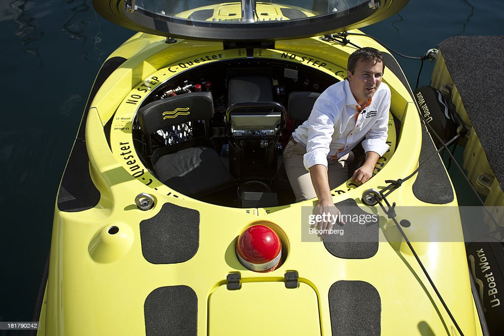 Erik Hasselman, commercial director of U-Boat Worx, stands inside a C-Quester 3 submarine during the Monaco Yacht Show (MYS) in the harbor in Monaco, France, on Wednesday, Sept. 25, 2013. Over 100 of the world's luxury yachts will be displayed in Port Hercules during the 23rd MYS which runs from Sept. 25 - 28. Photographer: Balint Porneczi/Bloomberg via Getty Images