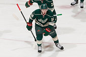 Erik Haula of the Minnesota Wild celebrates after scoring a goal against the Chicago Blackhawks in Game Four of the Western Conference Semifinals...