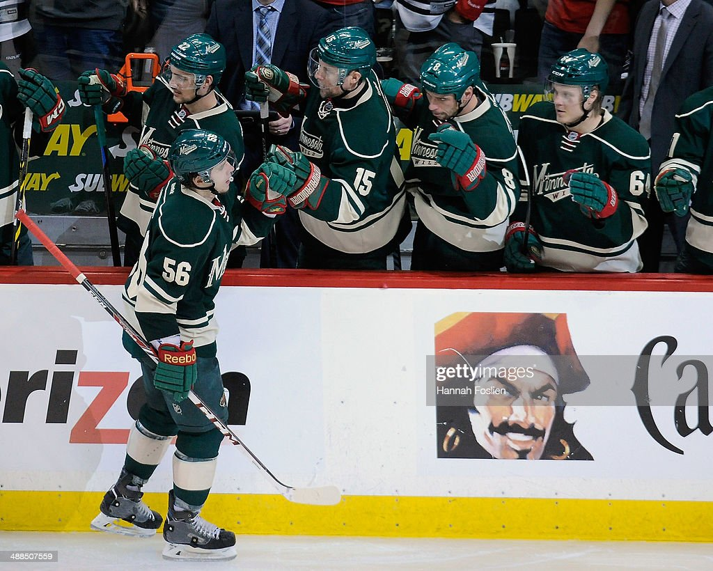 Erik Haula #56 of the Minnesota Wild celebrates scoring a goal against the Chicago Blackhawks during the third period in Game Three of the Second Round of the 2014 NHL Stanley Cup Playoffs on May 6, 2014 at Xcel Energy Center in St Paul, Minnesota. The Wild defeated the Blackhawks 4-0.