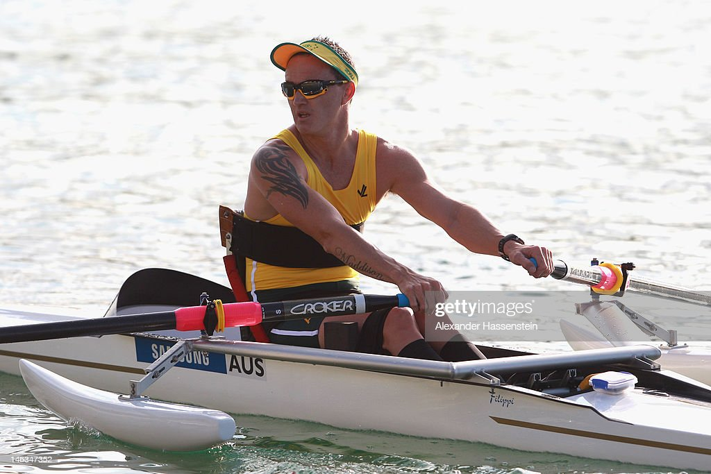 Erik Horrie of Australia competes in the Adaptive Events Men Single Sculls heat during the 2012 Samsung World Rowing Cup III at the Ruderregattastrecke on June 14, 2012 in Munich, Germany.