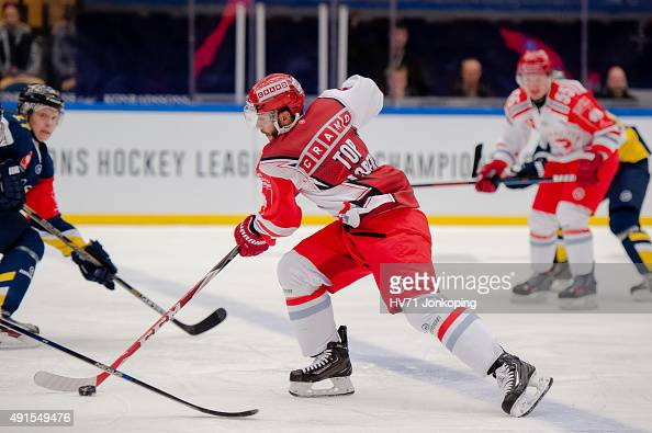 Erik Hrna of Ocelari Trinec during the Champions Hockey League round of thirtytwo game between HV71 Jonkoping and Ocelari Trinec on October 6 2015 in...