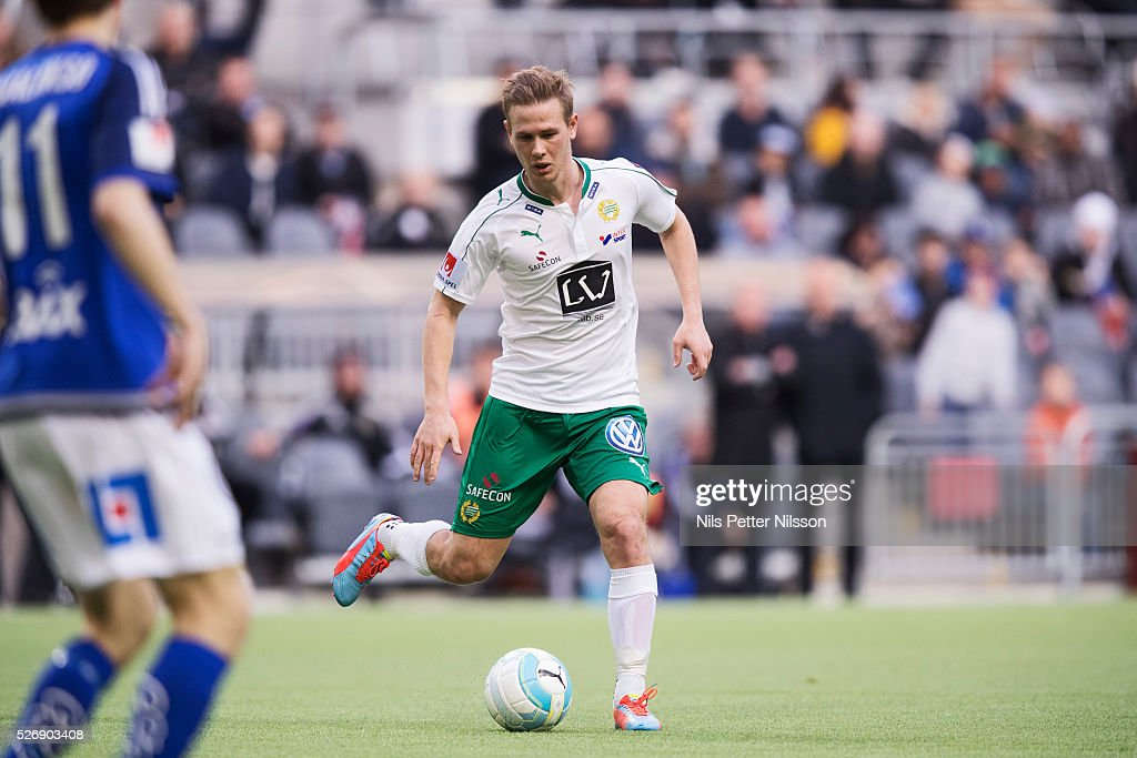 Erik Israelsson of Hammarby IF during the Allsvenskan match between Hammarby IF and GIF Sundsvall at Tele2 Arena on May 1, 2016 in Stockholm, Sweden.