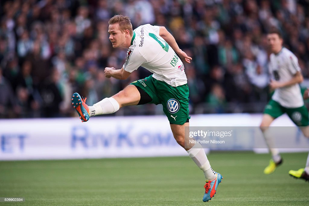 Erik Israelsson of Hammarby IF shoots during the Allsvenskan match between Hammarby IF and GIF Sundsvall at Tele2 Arena on May 1, 2016 in Stockholm, Sweden.