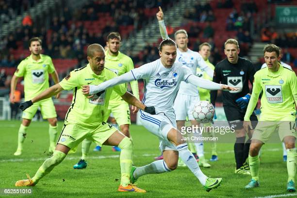 Erik Johansson of FC Copenhagen compete for the ball during the Danish Alka Superliga match between FC Copenhagen and Esbjerg fB at Telia Parken...