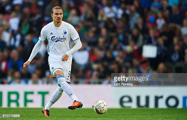 Erik Johansson of FC Copenhagen controls the ball during the Danish Alka Superliga match between FC Copenhagen and AGF Aarhus at Telia Parken Stadium...