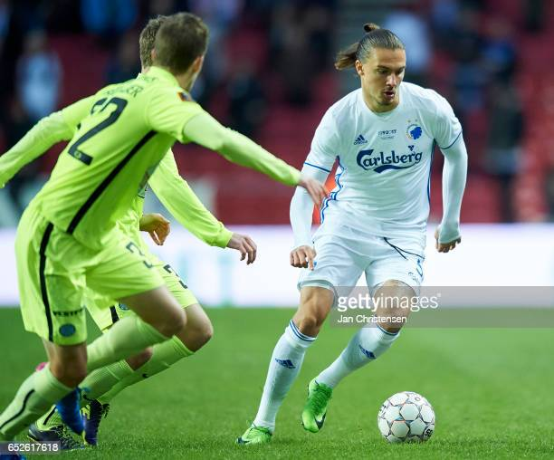 Erik Johansson of FC Copenhagen controls the ball during the Danish Alka Superliga match between FC Copenhagen and Esbjerg fB at Telia Parken Stadium...
