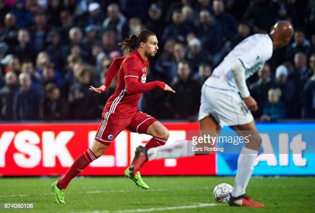 Erik Johansson of FC Copenhagen controls the ball during the Danish cup DBU Pokalen semfinal match between Vendsyssel FF and FC Copenhagen at...