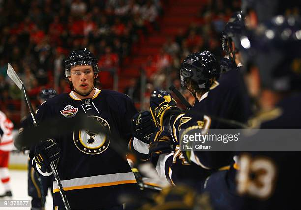 Erik Johnson of St Louis Blues celebrates with his teammates after St Louis Blues scored during the 2009 Compuware NHL Premiere Stockholm match...