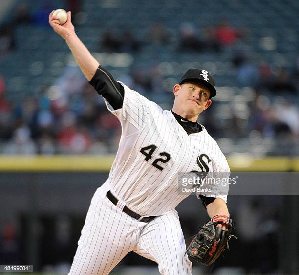 Erik Johnson of the Chicago White Sox pitches against the Boston Red Sox during the first inning on April 15 2014 at US Cellular Field in Chicago...