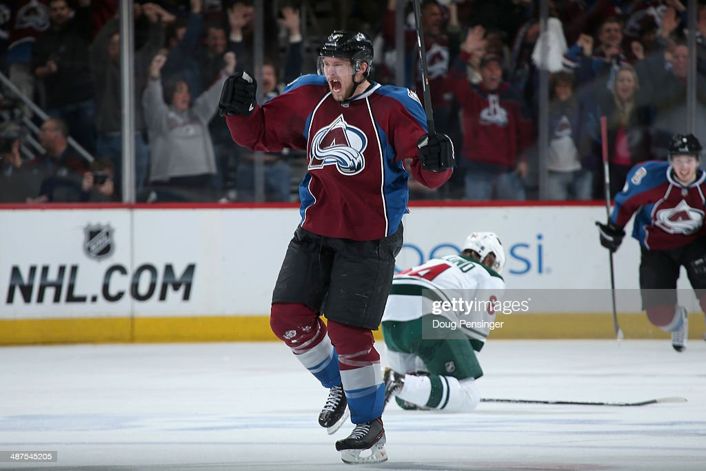 <a gi-track='captionPersonalityLinkClicked' href=/galleries/search?phrase=Erik+Johnson+-+Ice+Hockey+Player&family=editorial&specificpeople=457696 ng-click='$event.stopPropagation()'>Erik Johnson</a> #6 of the Colorado Avalanche celebrates his goal against the Minnesota Wild to take a 4-3 lead in the third perod in Game Seven of the First Round of the 2014 NHL Stanley Cup Playoffs at Pepsi Center on April 30, 2014 in Denver, Colorado.