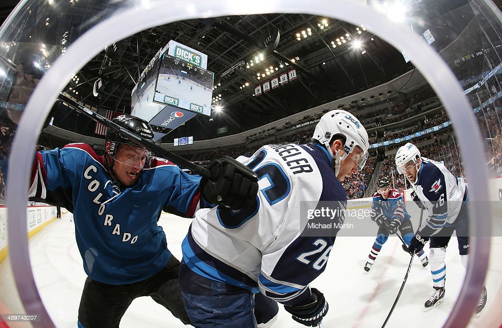 <a gi-track='captionPersonalityLinkClicked' href=/galleries/search?phrase=Erik+Johnson+-+Ice+Hockey+Player&family=editorial&specificpeople=457696 ng-click='$event.stopPropagation()'>Erik Johnson</a> #6 of the Colorado Avalanche fights for position with <a gi-track='captionPersonalityLinkClicked' href=/galleries/search?phrase=Blake+Wheeler&family=editorial&specificpeople=716703 ng-click='$event.stopPropagation()'>Blake Wheeler</a> #26 of the Winnipeg Jets at the Pepsi Center on December 29, 2013 in Denver, Colorado.