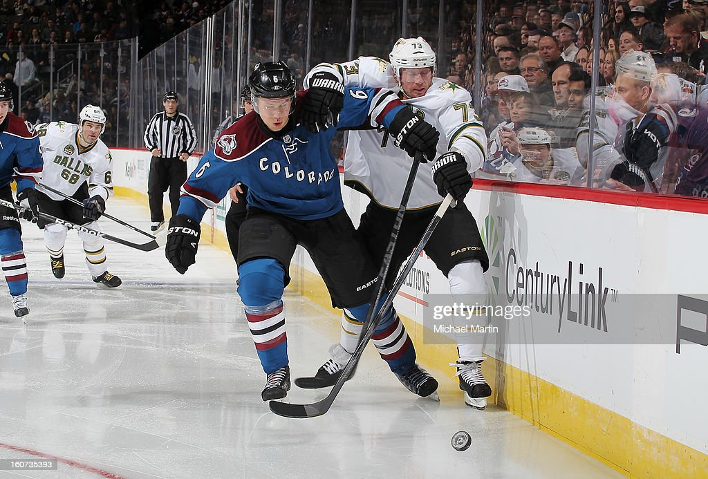 <a gi-track='captionPersonalityLinkClicked' href=/galleries/search?phrase=Erik+Johnson+-+Ice+Hockey+Player&family=editorial&specificpeople=457696 ng-click='$event.stopPropagation()'>Erik Johnson</a> #6 of the Colorado Avalanche fights for position with <a gi-track='captionPersonalityLinkClicked' href=/galleries/search?phrase=Michael+Ryder&family=editorial&specificpeople=208983 ng-click='$event.stopPropagation()'>Michael Ryder</a> #73 of the Dallas Stars at the Pepsi Center on February 4, 2013 in Denver, Colorado.