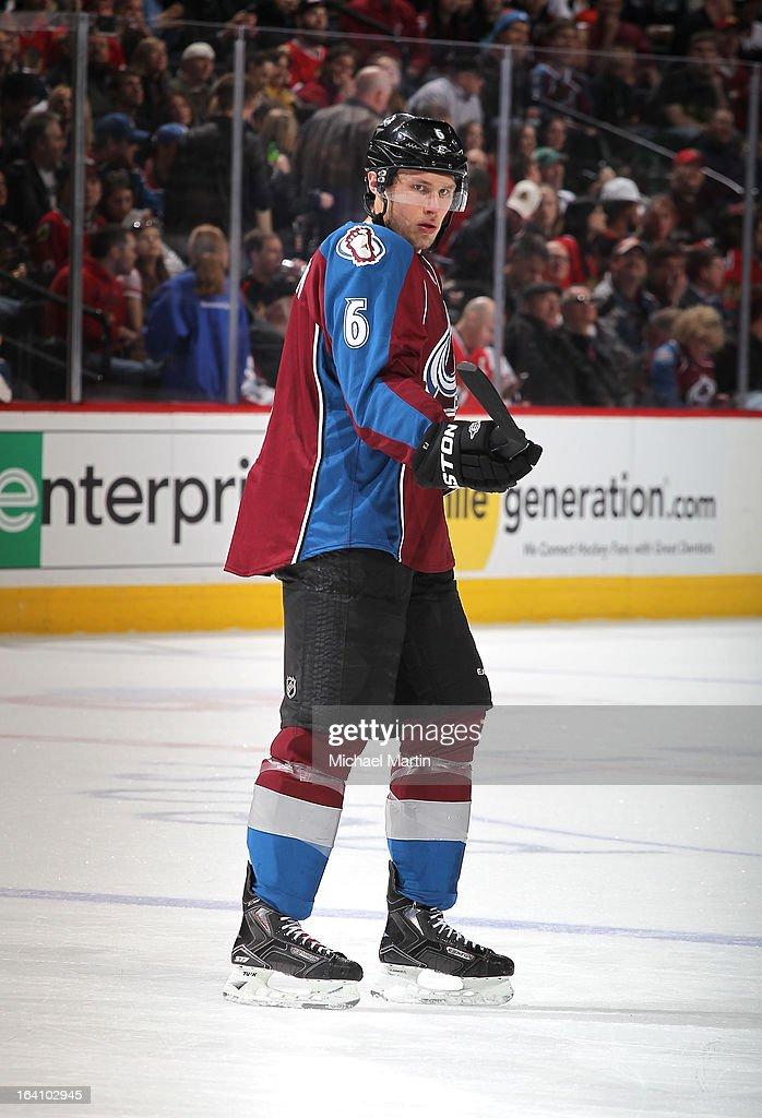 Erik Johnson #6 of the Colorado Avalanche skates against the Chicago Blackhawks at the Pepsi Center on March 18, 2013 in Denver, Colorado. Chicago beat Colorado 5-2.