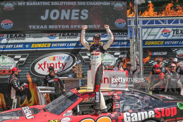 Erik Jones celebrates in Victory Lane after winning the My Bariatric Solutions NASCAR Xfinity Series race on April 8 2017 at Texas Motor Speedway in...