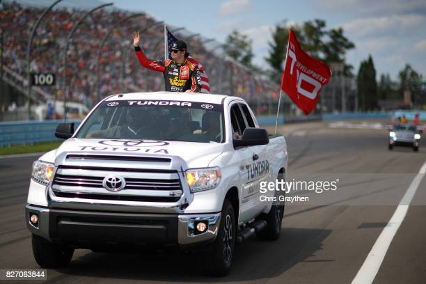 Erik Jones driver of the 5hour ENERGY Extra Strength Toyota is introduced prior to the Monster Energy NASCAR Cup Series I Love NY 355 at The Glen at...