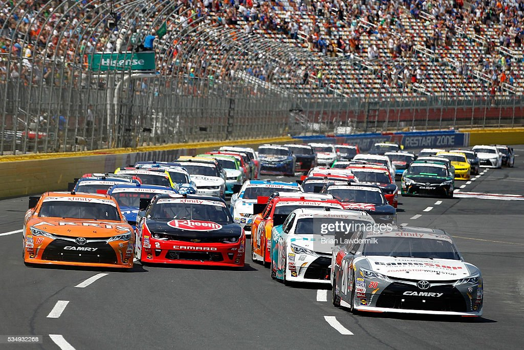 Erik Jones driver of the GameStop Toyota leads a pack of cars during the NASCAR XFINITY Series Hisense 300 at Charlotte Motor Speedway on May 28 2016...