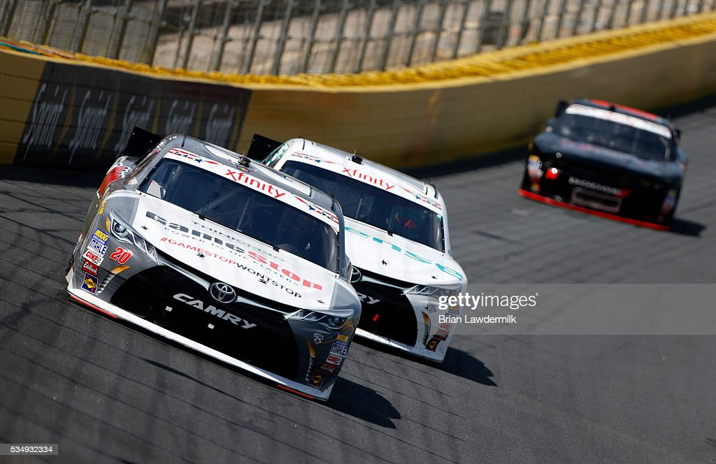 <a gi-track='captionPersonalityLinkClicked' href=/galleries/search?phrase=Erik+Jones+-+Race+Car+Driver&family=editorial&specificpeople=13494574 ng-click='$event.stopPropagation()'>Erik Jones</a>, driver of the #20 GameStop Toyota, leads a pack of cars during the NASCAR XFINITY Series Hisense 300 at Charlotte Motor Speedway on May 28, 2016 in Charlotte, North Carolina.