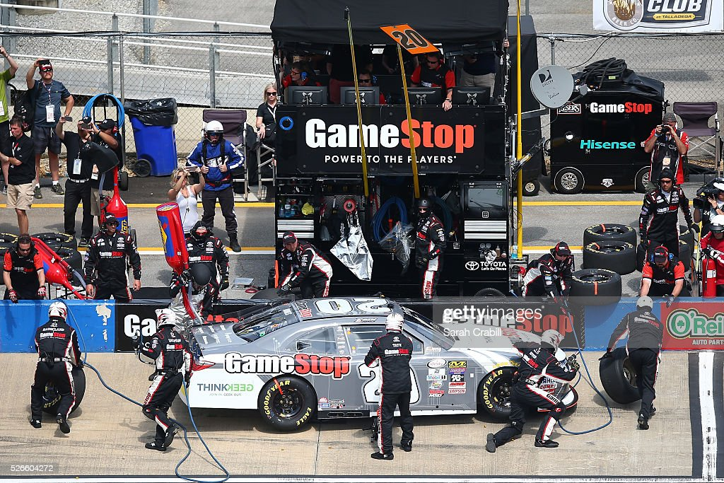 <a gi-track='captionPersonalityLinkClicked' href=/galleries/search?phrase=Erik+Jones+-+Race+Car+Driver&family=editorial&specificpeople=13494574 ng-click='$event.stopPropagation()'>Erik Jones</a>, driver of the #20 GameStop Toyota, pits during the NASCAR XFINITY Series Sparks Energy 300 at Talladega Superspeedway on April 30, 2016 in Talladega, Alabama.