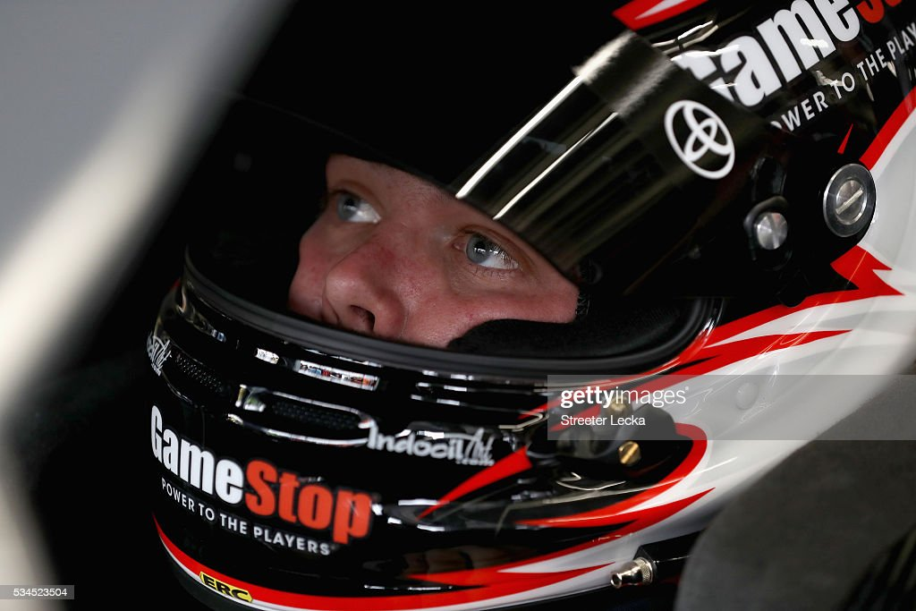 <a gi-track='captionPersonalityLinkClicked' href=/galleries/search?phrase=Erik+Jones+-+Race+Car+Driver&family=editorial&specificpeople=13494574 ng-click='$event.stopPropagation()'>Erik Jones</a>, driver of the #20 GameStop Toyota, sits in his car during practice for the NASCAR XFINITY Series Hisense 4K TV 300 at Charlotte Motor Speedway on May 27, 2016 in Charlotte, North Carolina.
