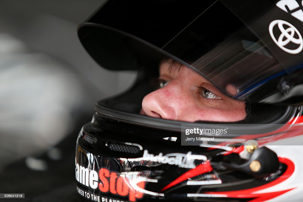 Erik Jones, driver of the #20 GameStop Toyota, sits in his car in the garage area during practice for the NASCAR XFINITY Series Sparks Energy 300 at Talladega Superspeedway on April 29, 2016 in Talladega, Alabama.