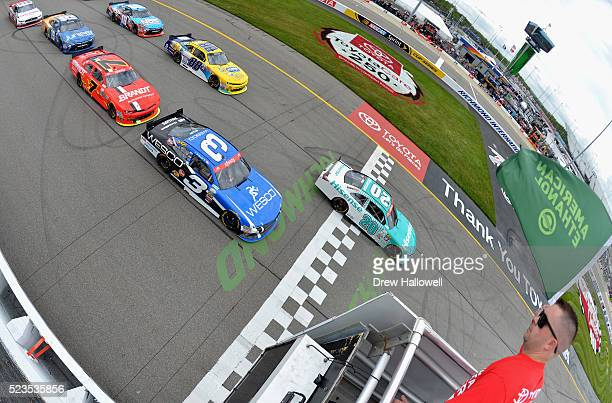 Erik Jones driver of the Hisense USA Toyota leads the field past the green flag to start the NASCAR XFINITY Series ToyotaCare 250 at Richmond...