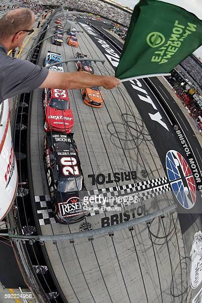 Erik Jones driver of the Resers Main Street Bistro Toyota leads the field past the green flag to start the NASCAR XFINITY Series Food City 300 at...