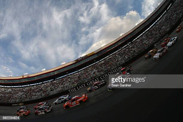 Erik Jones driver of the Resers Main Street Bistro Toyota leads the field to the green flag to start the NASCAR XFINITY Series Food City 300 at...