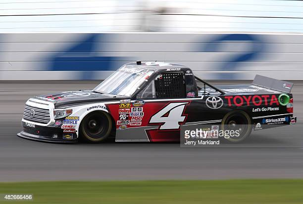 Erik Jones driver of the Toyota races during the NASCAR Camping World Truck Series Pocono Mountains 150 at Pocono Raceway on August 1 2015 in Long...