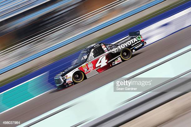 Erik Jones driver of the Toyota Toyota practices for the NASCAR Camping World Truck Series Ford EcoBoost 200 at HomesteadMiami Speedway on November...