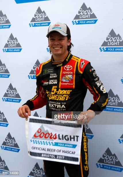 Erik Jones Furniture Row Racing 5Hour Energy Extra Strength Toyota Camry winning the pole position for the Bass Pro Shop NRA 500 at Bristol Motor...